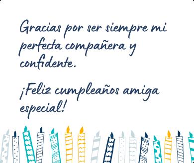 Mensaje de cumpleaños bonito para una amiga