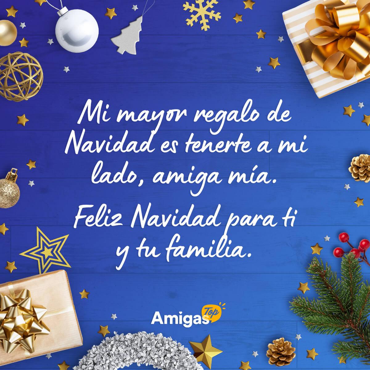 Imagen con mensaje de Navidad bonito para una amiga
